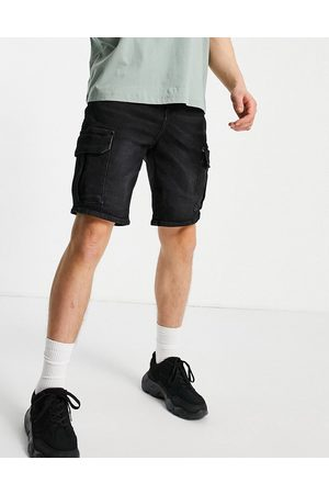 New Look Original fit denim cargo shorts in black