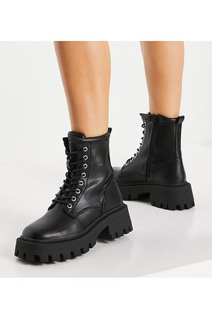 ASOS DESIGN Wide Fit Avid extreme square toe lace up boots in black