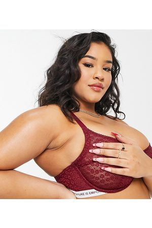 Dorina Mujer Sin relleno - Plus Size Rally non padded high apex animal lace bra with logo elastic detail in burgundy