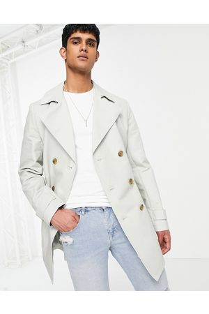ASOS Hombre Gabardinas - Shower resistant double breasted trench coat in grey