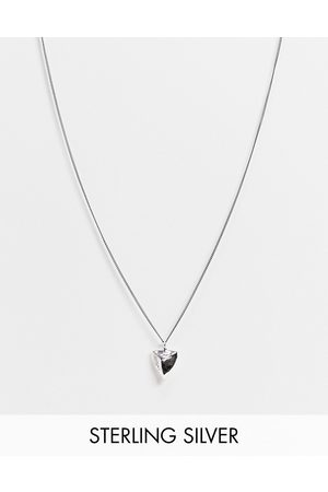 ASOS Hombre Anillos - Sterling silver skinny neckchain with tooth pendant in burnished silver