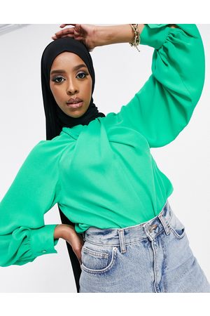 ASOS Long sleeve top with twist neck detail in bright green