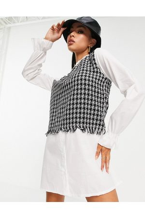 I saw it first 2 in 1 collar detail contrast shirt dress with in multi