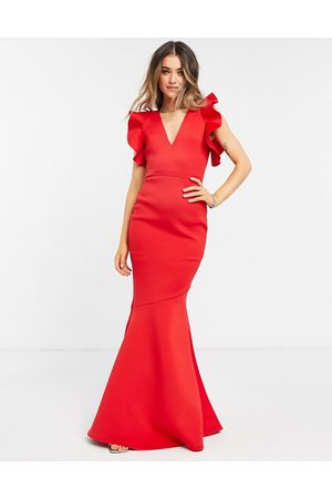 True Violet Mujer Casuales - Black Label cold shoulder maxi dress with fishtal in red