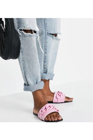 Simmi Wide Fit Mujer Zuecos - Simmi London Wide Fit Tashina chain trim mules in pink croc