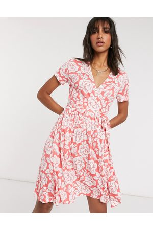 French Connection Floral Meadow jersey wrap dress in red