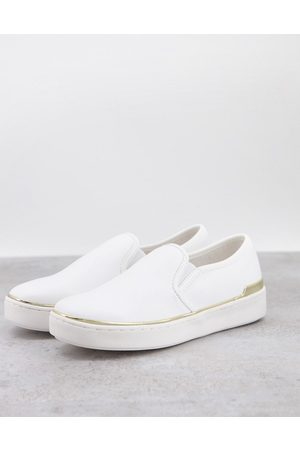 London Rebel Mujer Tenis - Canvas slip on trainers in white with gold