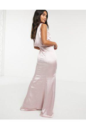 Chi Chi London Cowl back satin maxi dress in mink