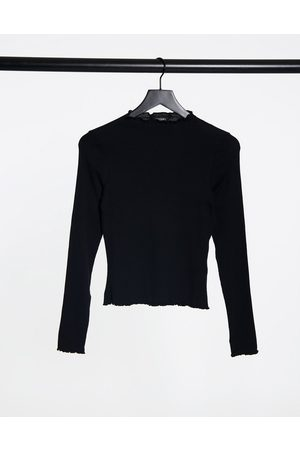 Monki Molly organic cotton ribbed long sleeve top in black