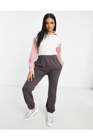 I saw it first Mujer Largos - High neck colourblock jumpsuit in charcoal and pink