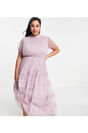 ANAYA Mujer Maxi - Anaya with Love Plus high neck maxi dress with tiered lace and tulle skirt in lilac