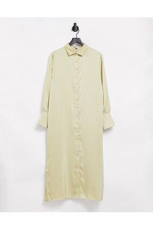 Pretty Lavish Naomi satin shirt midi dress in sage