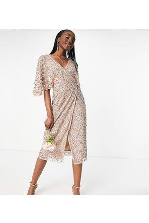 Maya Mujer De fiesta - Bridesmaid delicate sequin wrap midi pencil dress in taupe blush