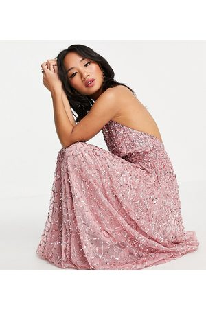 Maya Mujer Casuales - Halterneck open back all over sequin maxi dress in rose pink