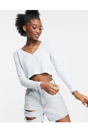Cotton On Mujer Tops - Cropped button through henley top in blue