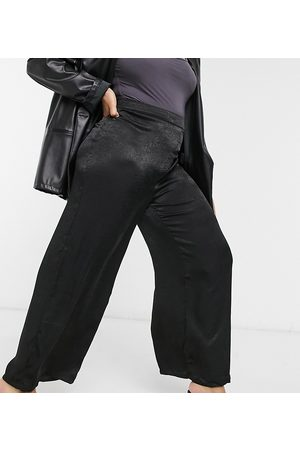 Outrageous Fortune Satin wide leg trouser co ord in black
