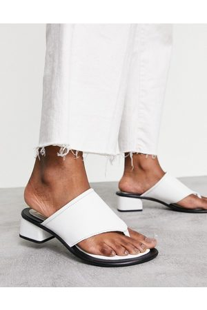 ASRA Jammie toe post sandals in white leather