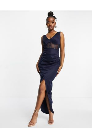 Jaded Rose Corset detail maxi dress with open back in navy