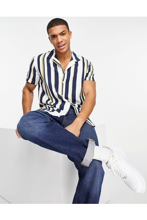 SELECTED Hombre Manga corta - Vertical stripe shirt with revere collar in multi colour
