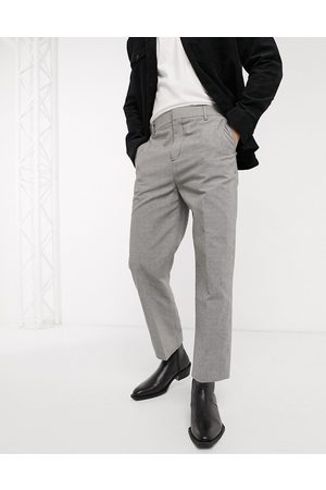 Weekday Hombre Chinos - Tucker Checked Trousers in Grey