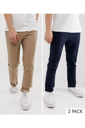 ASOS Hombre Chinos - 2 pack skinny chinos in navy & stone save