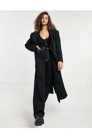 ASOS Longline twill grandad coat in black
