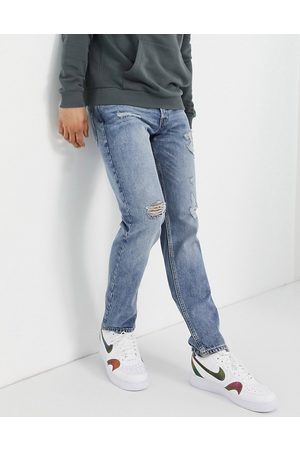JACK & JONES Hombre Rectos - Intelligence Mike straight jeans with rips in light blue