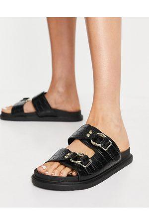 Schuh Mujer Sandalias - Talia double strap sandals in black croc