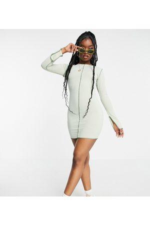 Missyempire Exclusive contrast stitch mini dress in sage