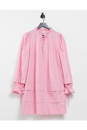 Monki Rosanna mini smock dress with tie detail in pink