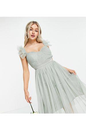 ANAYA Anaya With Love Petite Bridesmaid tulle frill sleeve midi dress in sage