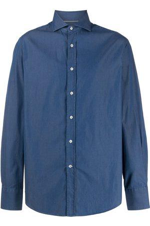 Brunello Cucinelli Camisa de cambray con cuello italiano