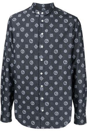Armani Camisa de mezclilla con monograma bordado