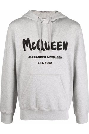 Alexander McQueen Hombre Con capucha - Hoodie con logo estampado