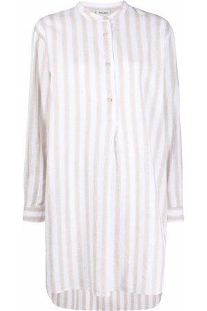 Woolrich Camisa larga sin cuello a rayas
