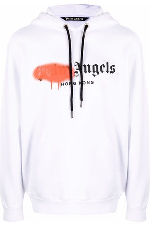 Palm Angels Hombre Con capucha - HK SPRAYED HOODY WHITE ORANGE