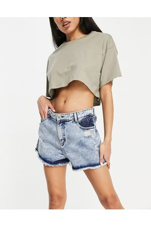 Urban Bliss Ripped high waisted short in acid wash