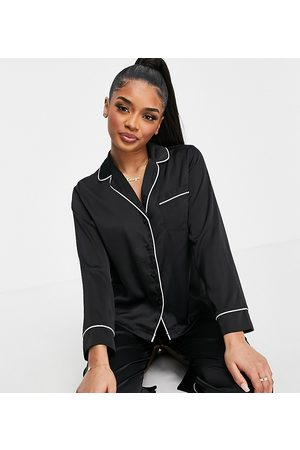 ASOS ASOS DESIGN Petite satin long sleeve shirt & trouser pyjama set in black