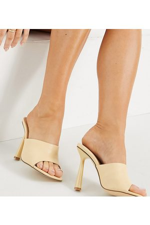 Truffle Collection Wide fit square toe mule heel sandals in beige