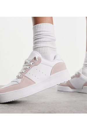 Truffle Collection Wide fit chunky trainers in white and pink