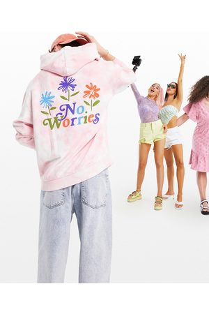 ASOS Oversized hoodie in pink tie dye with No Worries back print
