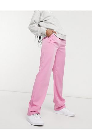 VILA Tailored high waisted trousers in pink