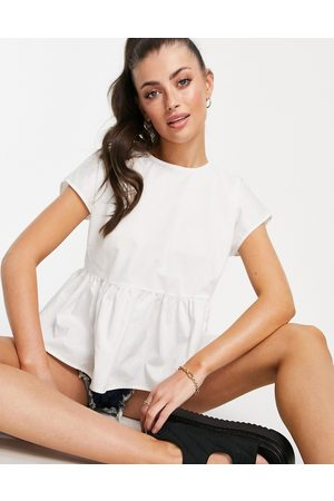 VILA Cap sleeve blouse with back bow tie in white