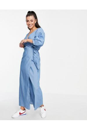 VILA V neck denim wrap dress with puff sleeve in blue