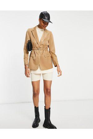 VILA Tailored suit blazer in camel