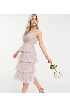 ANAYA Anaya With Love petite bridesmaid tulle one shoulder ruffle tiered dress in pink