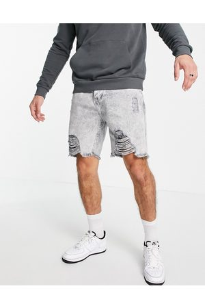 Good For Nothing Denim shorts in light grey acid wash with heavy distressing