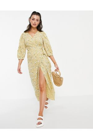 VILA Wrap dress with 3/4 balloon sleeve in yellow floral