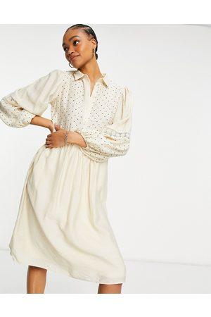 VILA Polka dot midi shirt dress with crochet insert