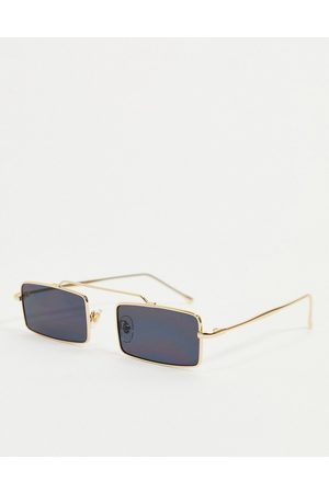 My Accessories London rectangle sunglasses in gold with black lens